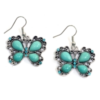 Metallic Butterfly Dangle Earrings with Turquoise Stones
