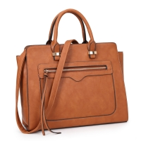 Faux Leather Mini Satchel with Front Zipper Pocket
