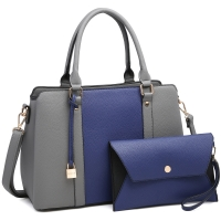 Dasein two tone Medium Satchel with hanging padlock deco and with Matching Wristlet